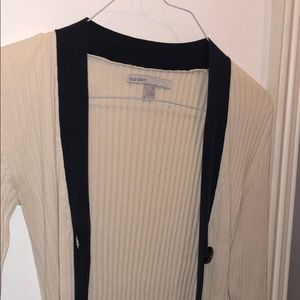 Old Navy Creme and navy knit cardigan size SMALL